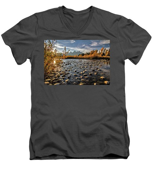 Men's V-Neck T-Shirt featuring the photograph River In The Tetons by Wesley Aston