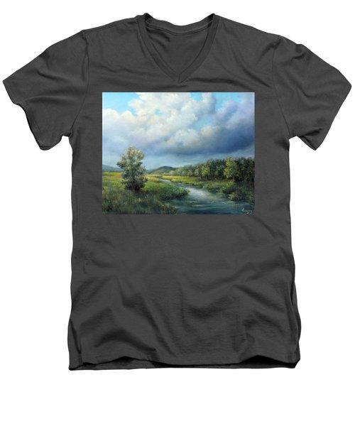 River Landscape Spring After The Rain Men's V-Neck T-Shirt