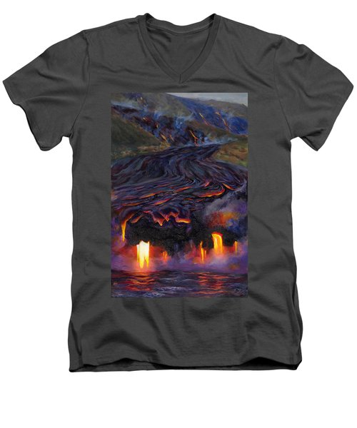 River Of Fire - Kilauea Volcano Eruption Lava Flow Hawaii Contemporary Landscape Decor Men's V-Neck T-Shirt