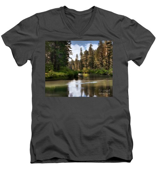 Men's V-Neck T-Shirt featuring the painting Millers Creek Painterly by Peter Piatt