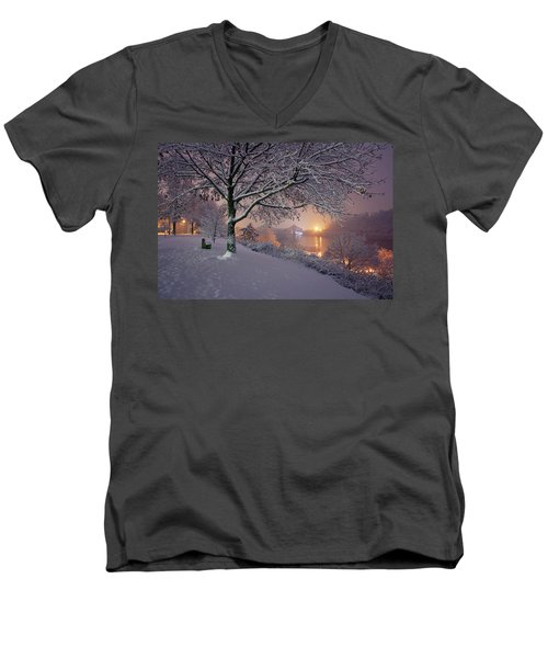 Men's V-Neck T-Shirt featuring the photograph River Road  by Emmanuel Panagiotakis