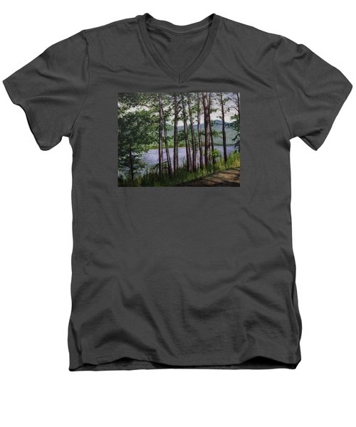 River Road Men's V-Neck T-Shirt by Ron Richard Baviello