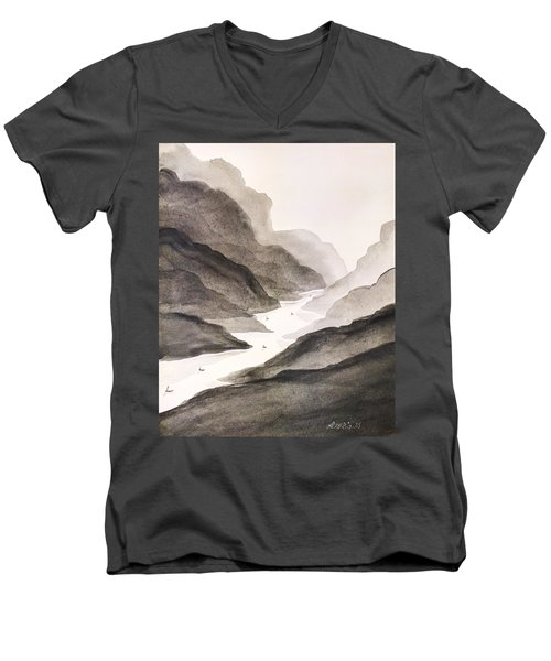 Men's V-Neck T-Shirt featuring the painting River Running Through Mountains by Edwin Alverio