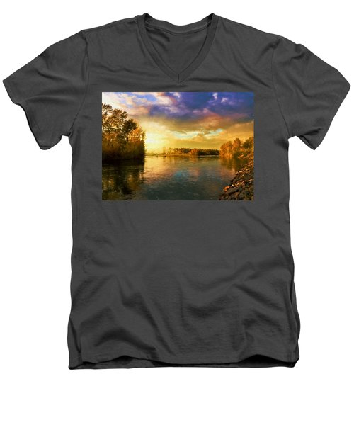 River Sunset Men's V-Neck T-Shirt
