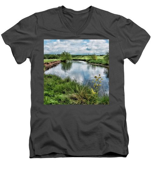 River Tame, Rspb Middleton, North Men's V-Neck T-Shirt
