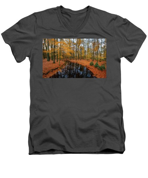 River Through Autumn Men's V-Neck T-Shirt