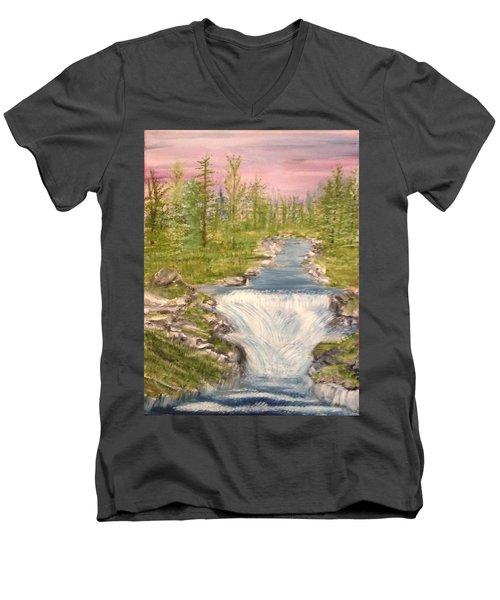 River With Falls Men's V-Neck T-Shirt