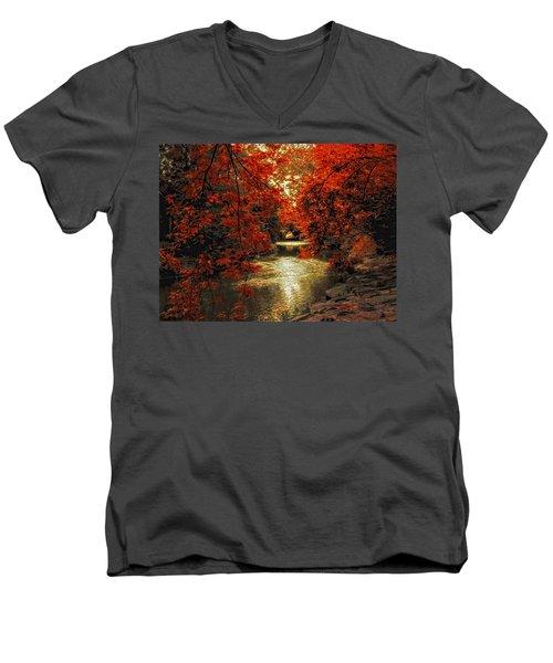 Riverbank Red Men's V-Neck T-Shirt
