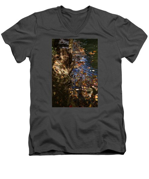 Men's V-Neck T-Shirt featuring the photograph Riverbank View by Margie Avellino