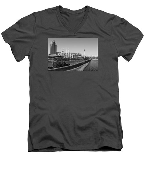 Riverfront Stadium Black And White  Men's V-Neck T-Shirt by John McGraw