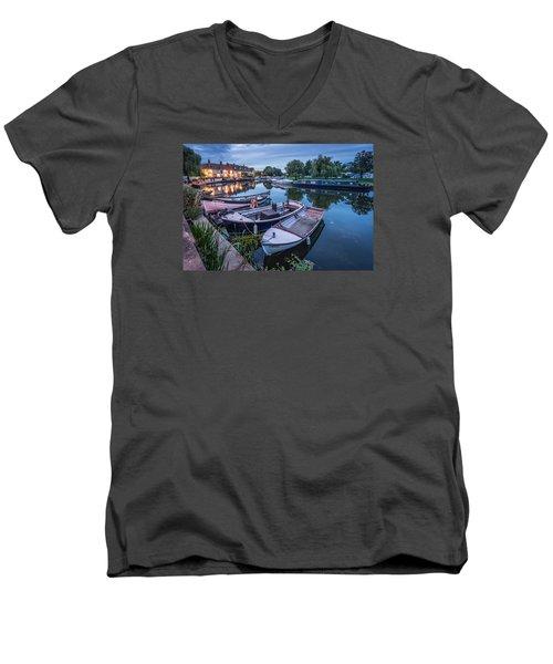 Riverside By Night Men's V-Neck T-Shirt
