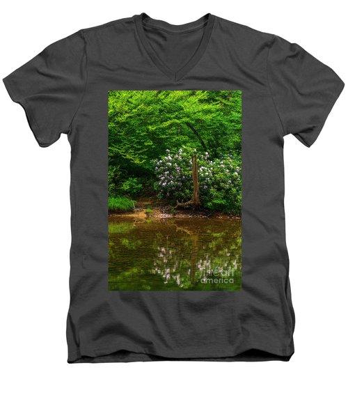 Riverside Rhododendron Men's V-Neck T-Shirt