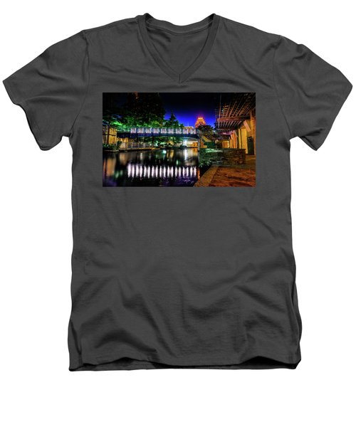 Riverwalk Bridge Men's V-Neck T-Shirt by Mark Dunton