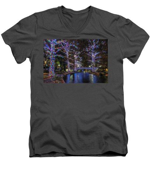 Men's V-Neck T-Shirt featuring the photograph Riverwalk Christmas by Steven Sparks