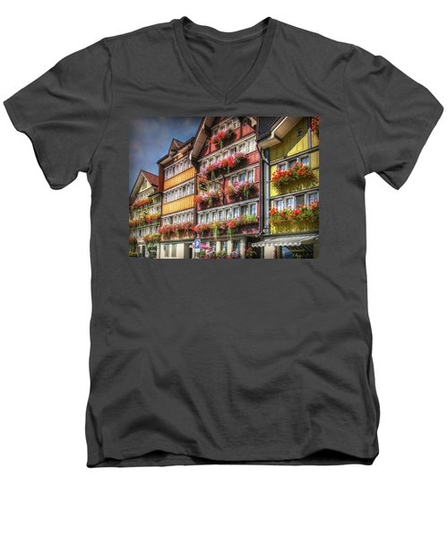 Men's V-Neck T-Shirt featuring the photograph Row Of Swiss Houses by Hanny Heim