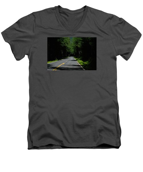 Road Leading To Where? Men's V-Neck T-Shirt by John Rossman