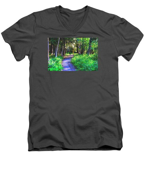 Men's V-Neck T-Shirt featuring the photograph Road Less Traveled by Susan Crossman Buscho