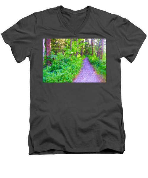 Men's V-Neck T-Shirt featuring the photograph Road More Traveled by Susan Crossman Buscho
