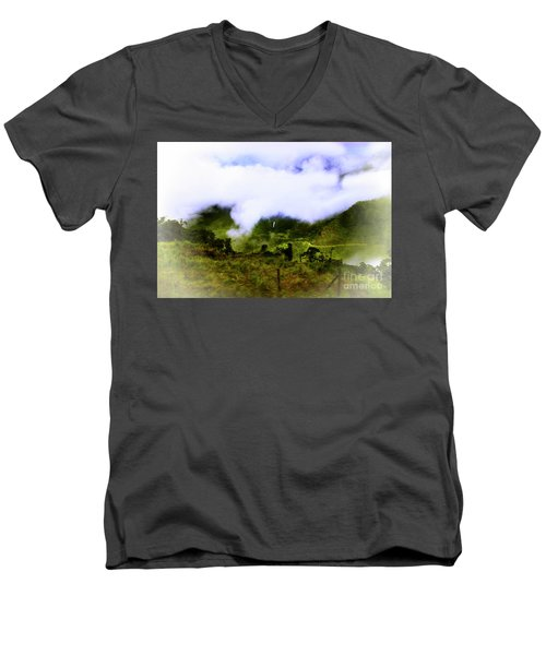 Men's V-Neck T-Shirt featuring the photograph Road Through The Andes by Al Bourassa