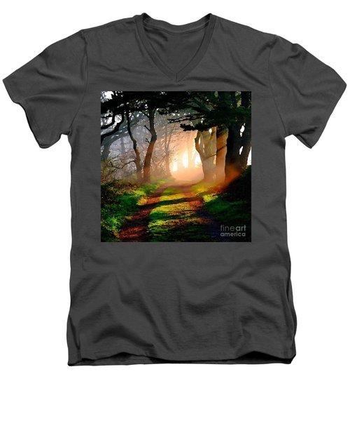 Road Through The Woods Men's V-Neck T-Shirt