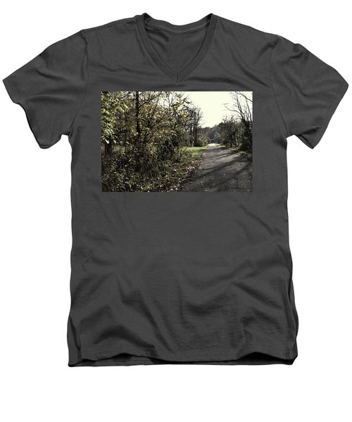 Road To Covered Bridge Men's V-Neck T-Shirt by Joanne Coyle