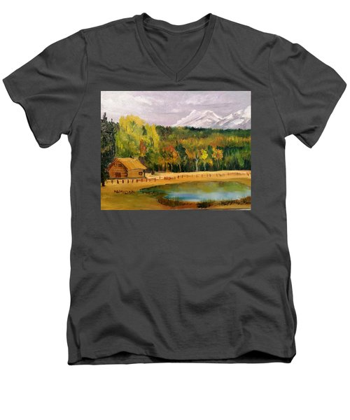 Road To Kintla Lake Men's V-Neck T-Shirt by Larry Hamilton