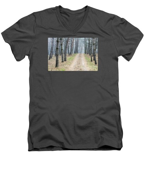 Road To Pine Forest Men's V-Neck T-Shirt by Odon Czintos