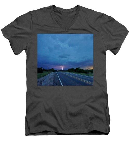 Lightning Over Sonora Men's V-Neck T-Shirt by Ed Sweeney