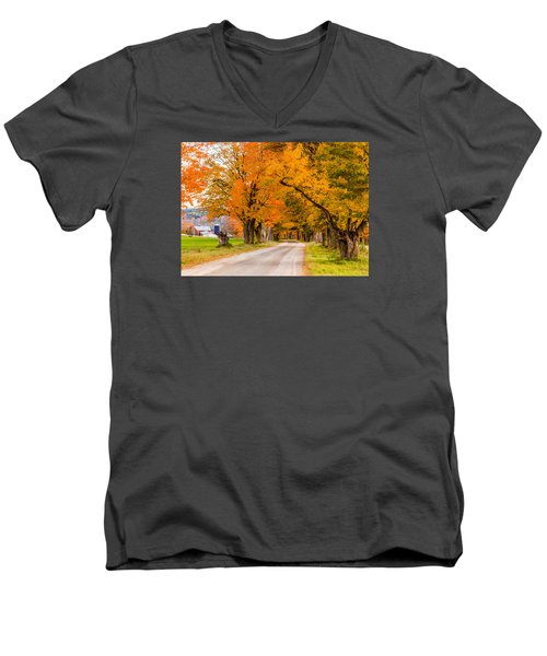 Road To The Farm Men's V-Neck T-Shirt by Tim Kirchoff