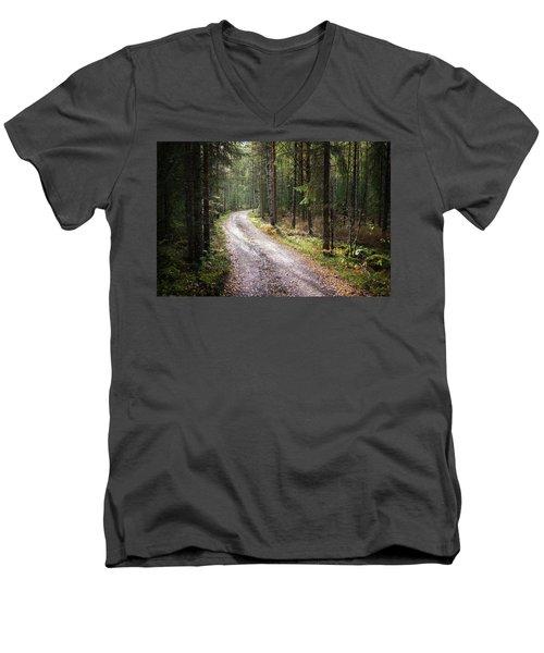 Road To The Light Men's V-Neck T-Shirt by Teemu Tretjakov