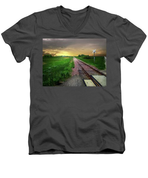 Road Track Crossing Men's V-Neck T-Shirt