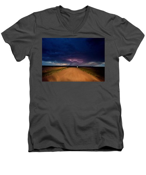 Road Under The Storm Men's V-Neck T-Shirt by Ed Sweeney