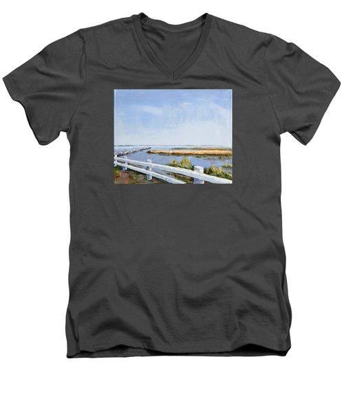 Roadside P-town Men's V-Neck T-Shirt by Trina Teele