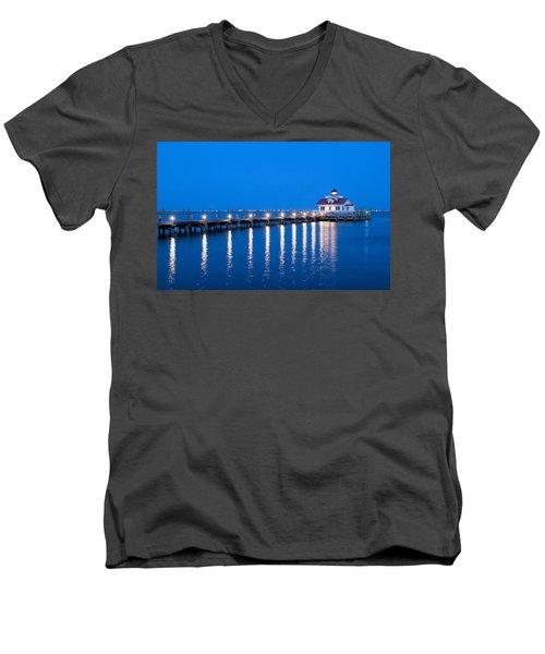 Roanoke Marshes Lighthouse Revisited Men's V-Neck T-Shirt by Marion Johnson