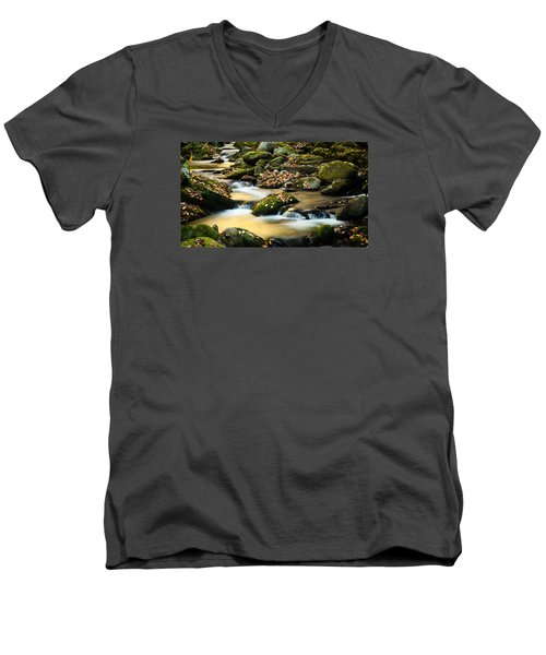 Men's V-Neck T-Shirt featuring the photograph Roaring Fork River by Monte Stevens