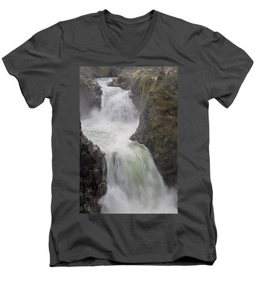 Men's V-Neck T-Shirt featuring the photograph Roaring River by Randy Hall