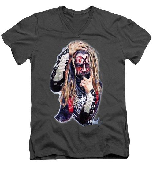 Rob Zombie Men's V-Neck T-Shirt by Melanie D