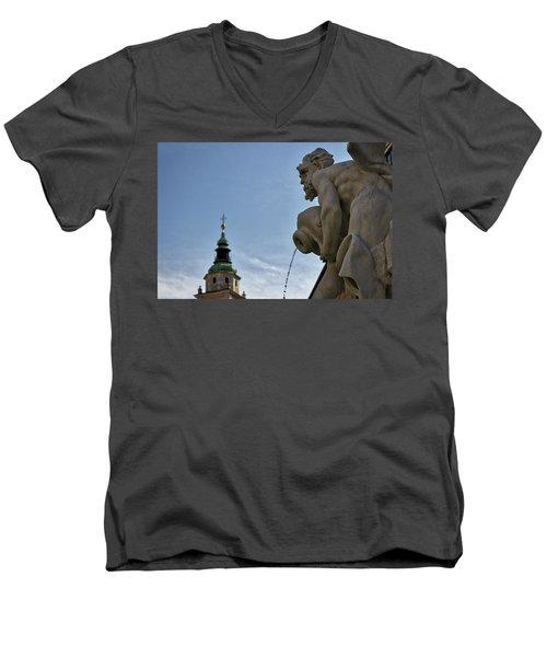 Men's V-Neck T-Shirt featuring the photograph Robba Fountain - Ljubljana Slovenia by Stuart Litoff