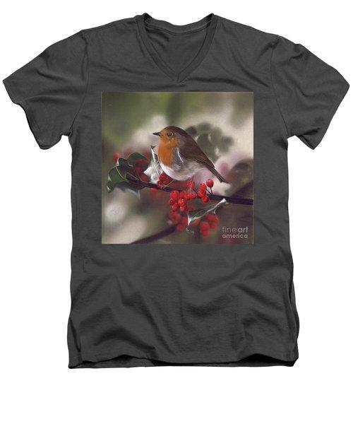 Robin And Berries Men's V-Neck T-Shirt