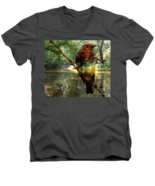 Men's V-Neck T-Shirt featuring the photograph Robin By The River by Annie Zeno