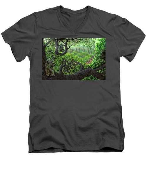 Men's V-Neck T-Shirt featuring the painting Robin Hood by Dave Luebbert