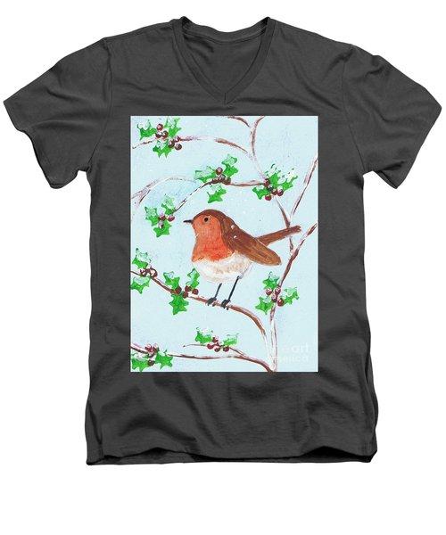 Robin In A Holly Bush Men's V-Neck T-Shirt
