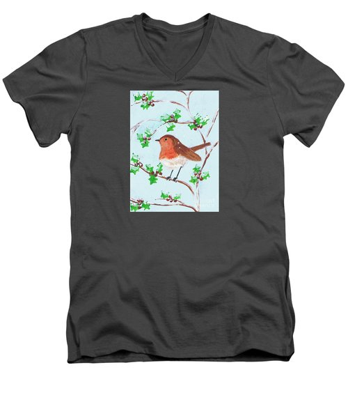 Men's V-Neck T-Shirt featuring the painting Robin In A Holly Bush by Karen Jane Jones