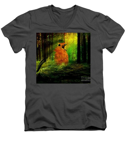 Men's V-Neck T-Shirt featuring the photograph Robin In The Forest by Annie Zeno