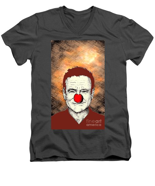 Men's V-Neck T-Shirt featuring the drawing Robin Williams 2 by Jason Tricktop Matthews