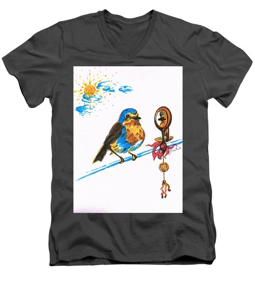 Robins Day Tasks Men's V-Neck T-Shirt by Teresa White