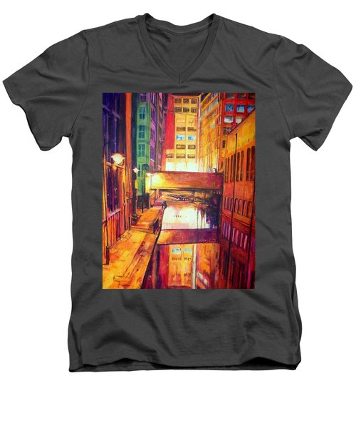 Rochdale Canal With Lock At Night Men's V-Neck T-Shirt