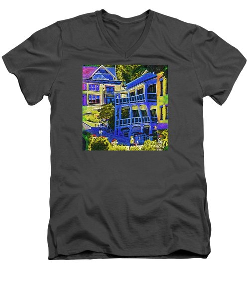 Roche Harbor Street Scene Men's V-Neck T-Shirt