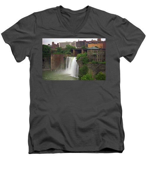 Men's V-Neck T-Shirt featuring the photograph Rochester, New York - High Falls 2 by Frank Romeo