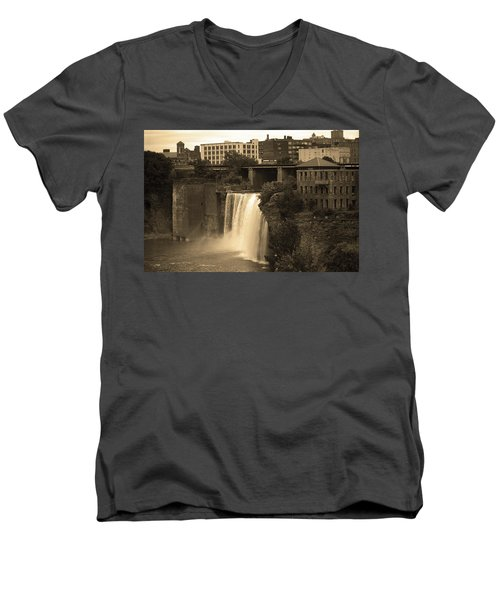 Men's V-Neck T-Shirt featuring the photograph Rochester, New York - High Falls 2 Sepia by Frank Romeo